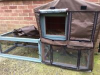 Rabbit/Guinea Pig Hutch with Run & Cover
