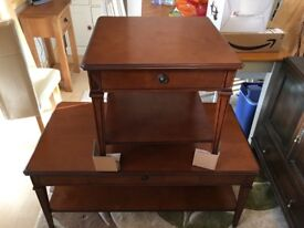 Matching coffee table and lamp table with drawers