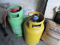 2 GAS BOTTLES FOR BBQ, 1 EMPTY 1 WITH SOME IN, BUYER COLLECTS