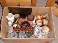 3 Boxes House Clearance Bric-a-Brac for boot saler – Brass, China, Glass - SA48 8JZ