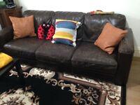 Free 3 & 2 Seater Leather Sofa Set