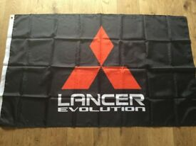 Mitsubishi Lancer evolution workshop flag banner