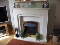 Adam Falmouth Fireplace Suite in Stone Effect with Eclipse Electric Fire in Brass, 49 Inch