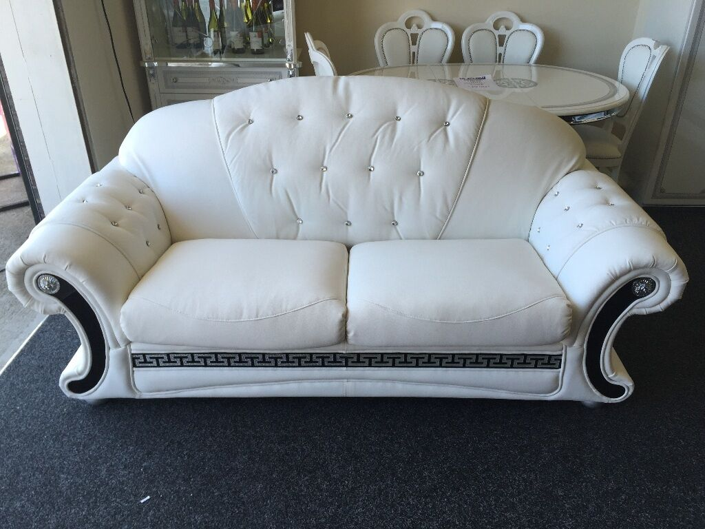 VERSACE SOFA 3 STR + 2 STR SOFA SET WHITE LEATHER WITH DIAMONDS MUST L@