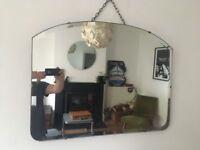 Vintage 1930s Art Deco Large Frameless Bevelled Edge Mirror