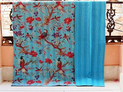 Kantha Blanket Indian Cotton Handmade Gudari King Size Quilt Blue Bird Antique