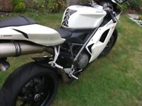 Ducati 848 in white , service history with recent full service, and a few aftermarket parts