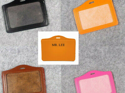 Custom Horizontal Name Id Badge Holder With Card Slot Black Pink Orange Brown