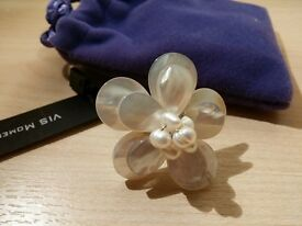 VIS Jewellery - Fiji, Flower Seashell & Freshwater Pearl Ring