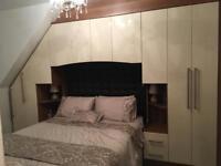 STUNNING cream gloss and walnut Starplan bedroom furniture