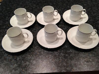 Thomas Medaillon Platinum Band - white with thin silver band - 6 coffee cup & saucers - Didsbury