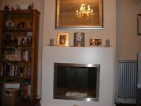 White surround fire place with internal stainless steel heater.