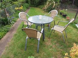 Garden furniture - Glass top table and 4 chairs