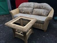 Two seater wicker sofa & Coffee Table