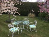 Wrought Iron vintage Garden glass top dining Table and Chairs