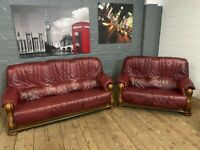 REAL LEATHER SOFAS 3 & 2 SET WITH SOLID PATTERNED WOOD BASE & ARM REST