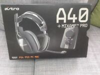 Astro A40 + MixAmp PRO Gaming Headset for PS4,PS3. MAC Headphones