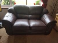 2 x chocolate leather sofas