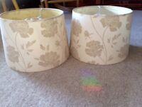 2 x cream floral patterned lampshades