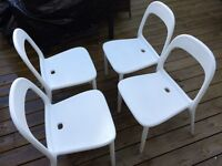 Four white Ikea Urban Dining Chairs- indoor or outdoor