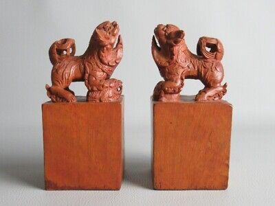 Vintage Pair of Sculptures Oriental Statue Wooden Figure Foo Dogs Xx Century