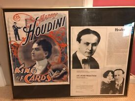 Vintage Magician Framed Picture - Collectable Houdini Prints