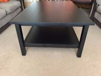 Black oak coffee table in an excellent condition with two side small tables for free