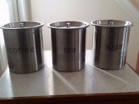 3 metal boxes TEA COFFEE SUGAR