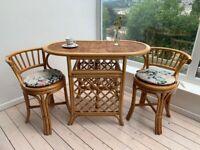 Bamboo Cane Bistro Set Table and 2 Chairs Boho Tiki