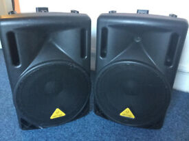 "A pair of Behringer B212XL 12"" 800W Passive Titanium PA Speakers"