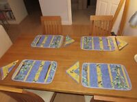 Beautiful reversable blue and yellow French provencal tablemats and napkins (8 sets)