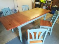 Pine Table & Chairs painted Farrow & Ball Oval Room Blue