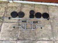 62kg Cast iron weights set include barbell tricep Bar dumbbells