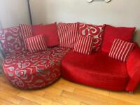 Red corner sofa - repost due to non collection