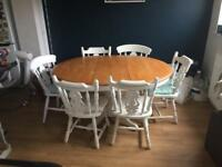 Extendable wooden circular dining table - shabby chic style, white and wood 6 chairs