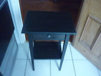 2 x bedside black units approx size 14 inch by 18 height 18