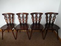 4 x Vintage ERCOL Blue Label 'Fleur de Lys' Dining Chairs