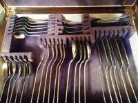 Antique Cutlery in Wooden Storage Box