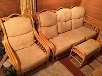 Cane Conservatory sofa, chair and footstool set