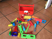 A large range of tools and a tool box for kids