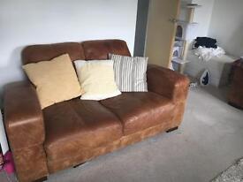 2 Tan Leather 2 Seater Sofas