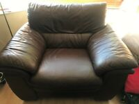 2 seater brown leather sofa and chair