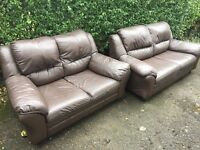 3 + 2 seater brown leather suite sofas FREE DELIVERY TODAY