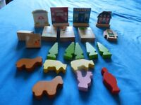 Wooden toy train track and trains,wooden garage