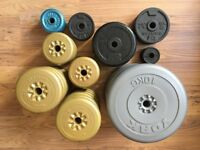 Weights, dumbbell bars, barbells and free bench