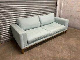 FREE DELIVERY BLUE FABRIC 3 SEATER SOFA GOOD CONDITION