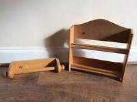 Pine Kitchen Spice Rack and Kitchen Roll Holder