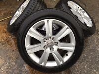 """AUDI A6 A4 2011 17"""" ALLOYS & TYRES WINTER TYRES SPARE SET 5X112 PCD S LINE"""