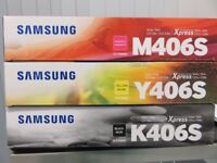 Samsung printer cartridges - M406S, Y406S & K406S (Magenta, Yellow & Black)