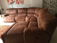 Suede corner sofa with chaise lounge very good condition